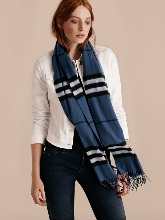 The Classic Cashmere Scarf in Check in Cadet Blue - cell image 2