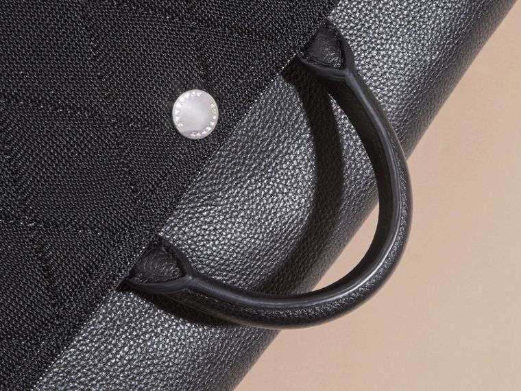 Black Leather Trim Messenger Bag - cell image 1
