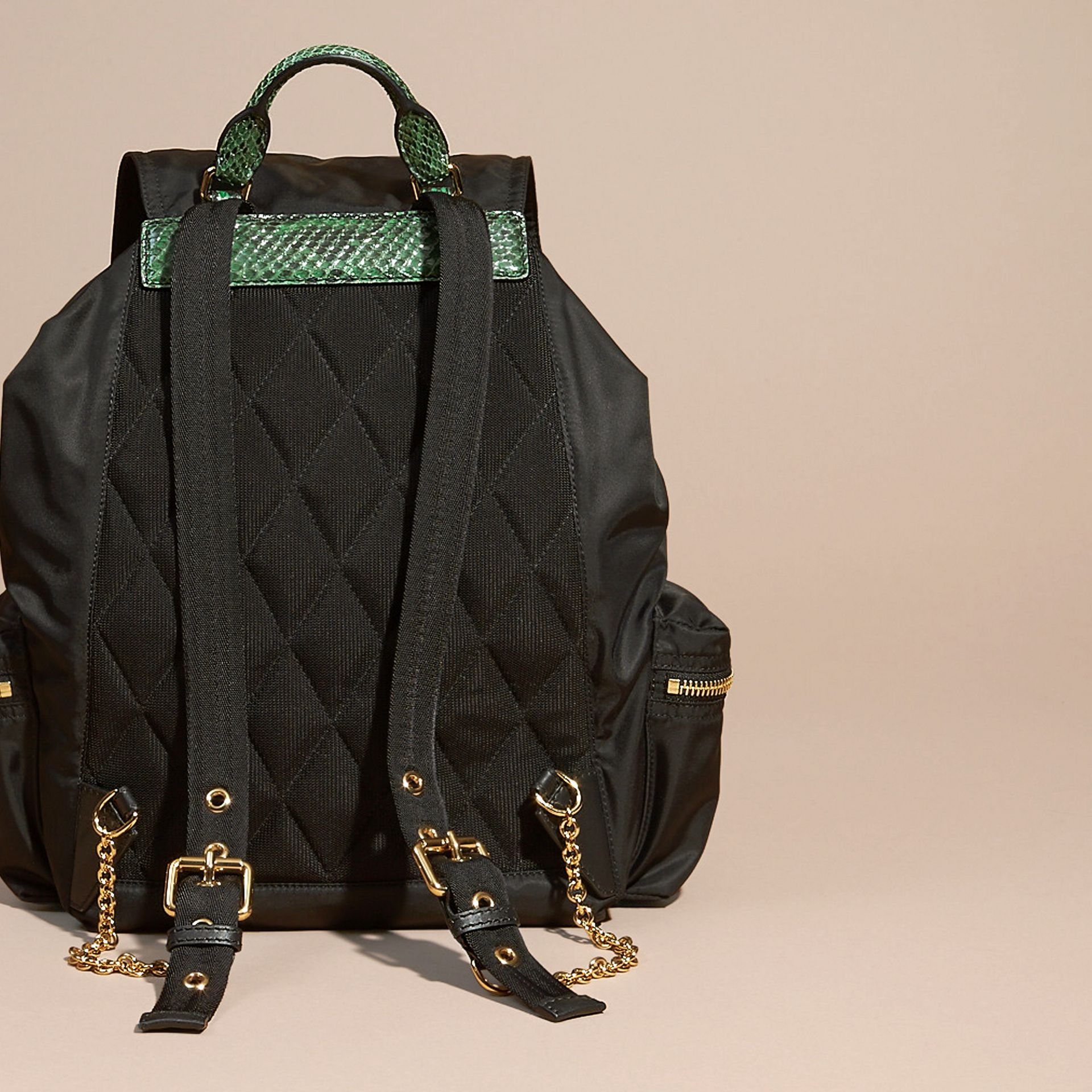 Black/bright green The Large Rucksack in Technical Nylon and Snakeskin Black/bright Green - gallery image 4