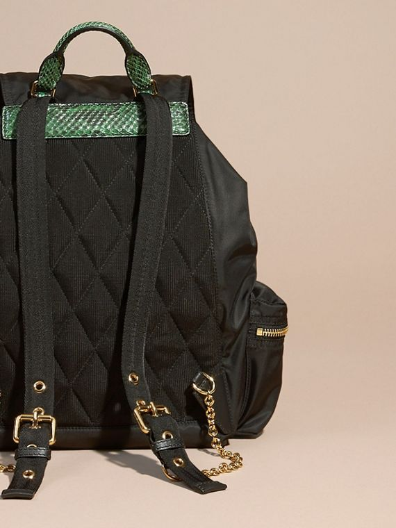 Black/bright green The Large Rucksack in Technical Nylon and Snakeskin Black/bright Green - cell image 3