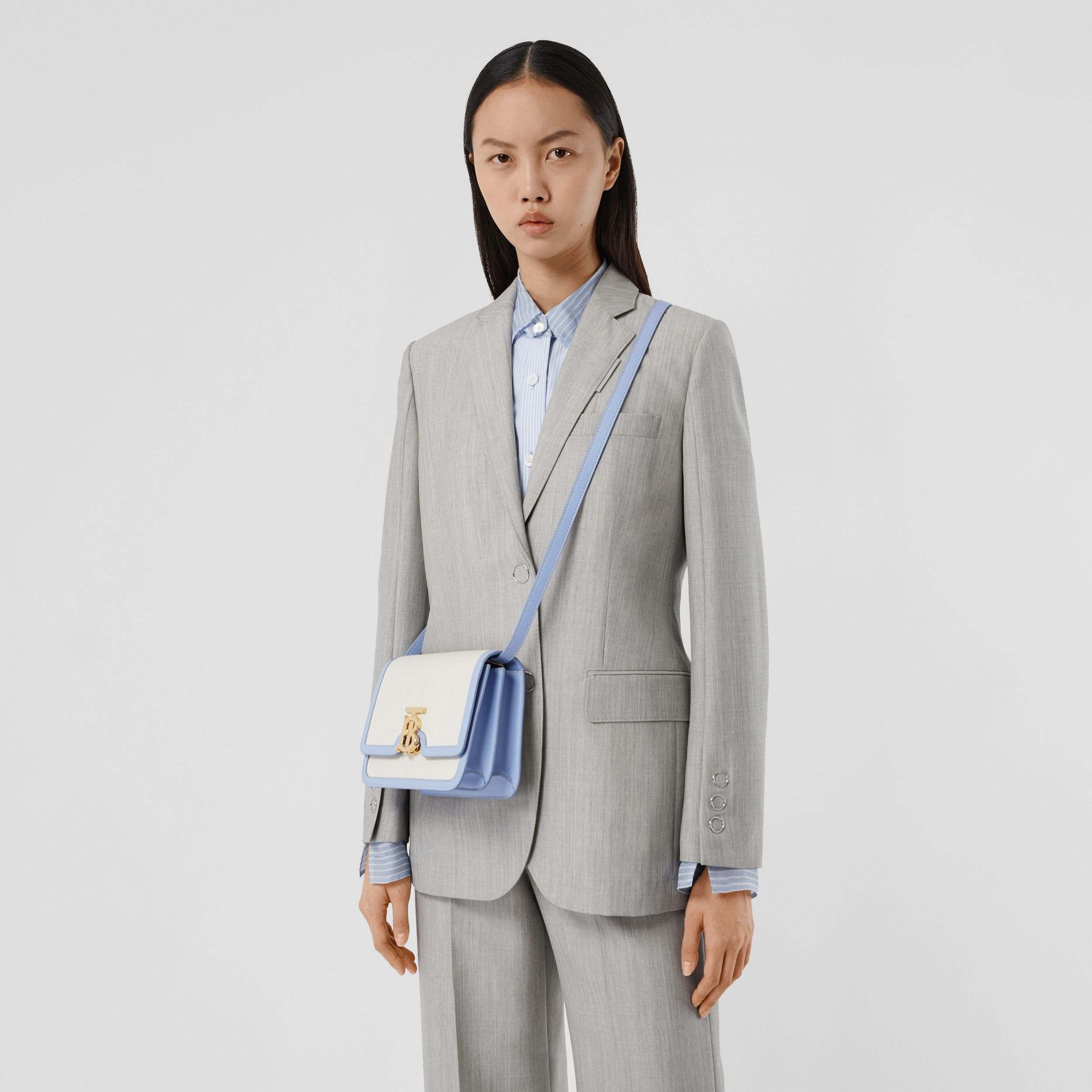 Small Two-tone Canvas and Leather TB Bag in Natural/pale Blue - Women | Burberry - 3