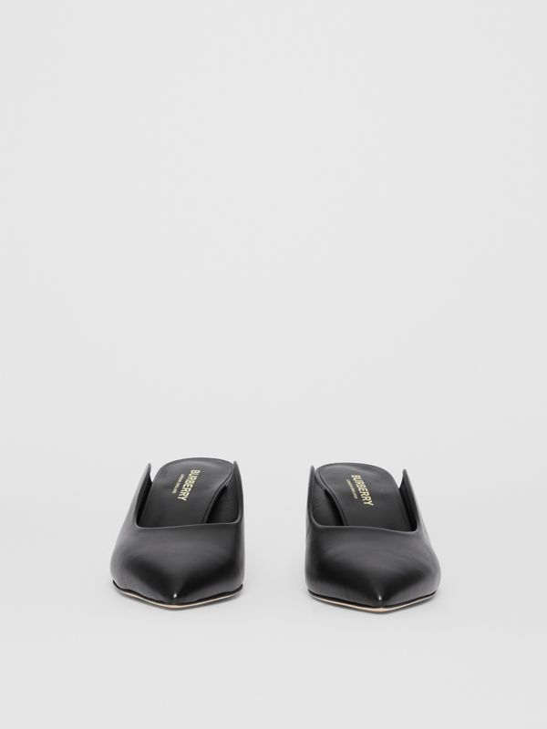Leather Point-toe Mules in Black - Women | Burberry - cell image 3