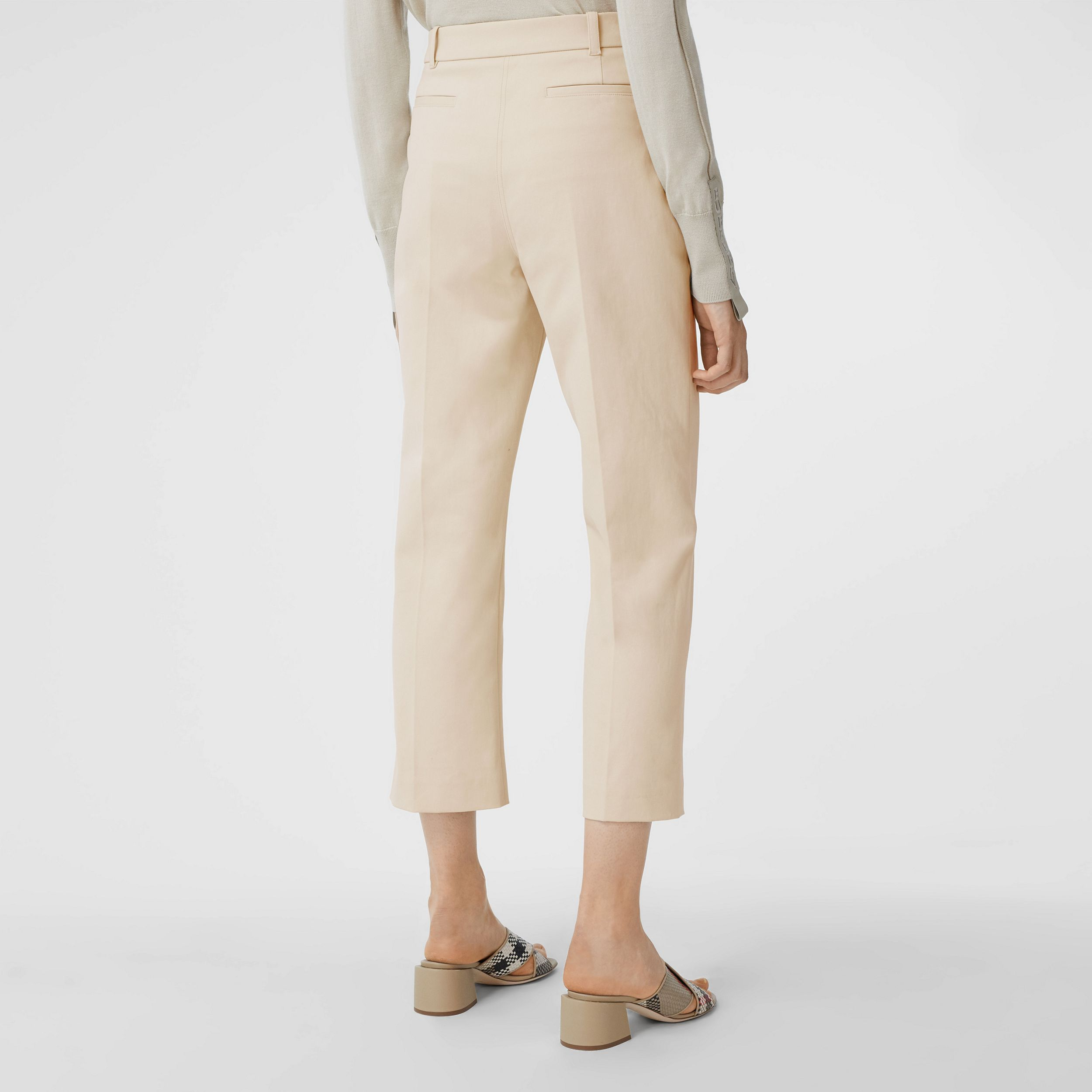 Logo Graphic Stretch Cotton Canvas Tailored Trousers in Pale Cream - Women | Burberry - 3