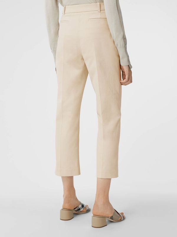 Logo Graphic Stretch Cotton Canvas Tailored Trousers in Pale Cream - Women | Burberry Hong Kong S.A.R - cell image 2