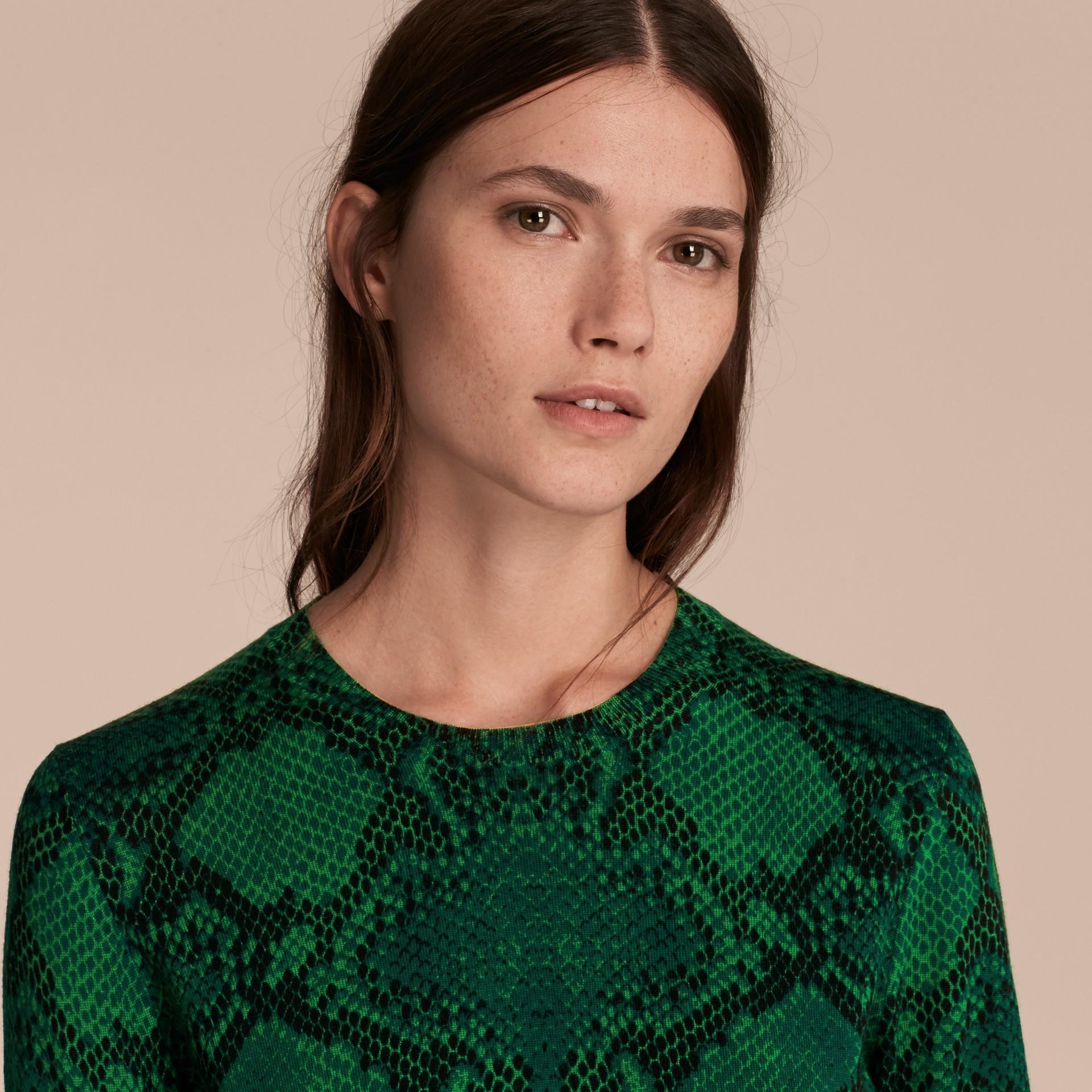 Verde pigmento Suéter de lã Merino com estampa de píton e detalhe xadrez Verde Pigmento - galeria de imagens 5