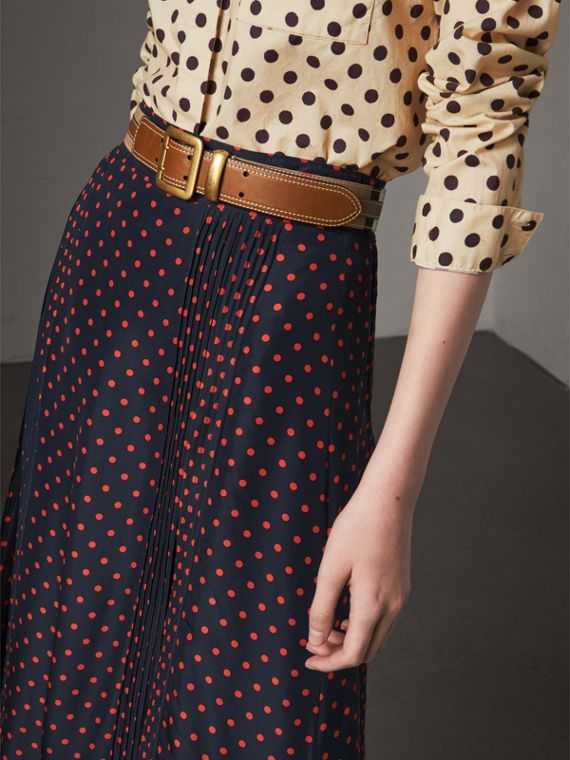 Topstitched House Check and Leather Belt in Sienna Brown - Women | Burberry Hong Kong - cell image 2