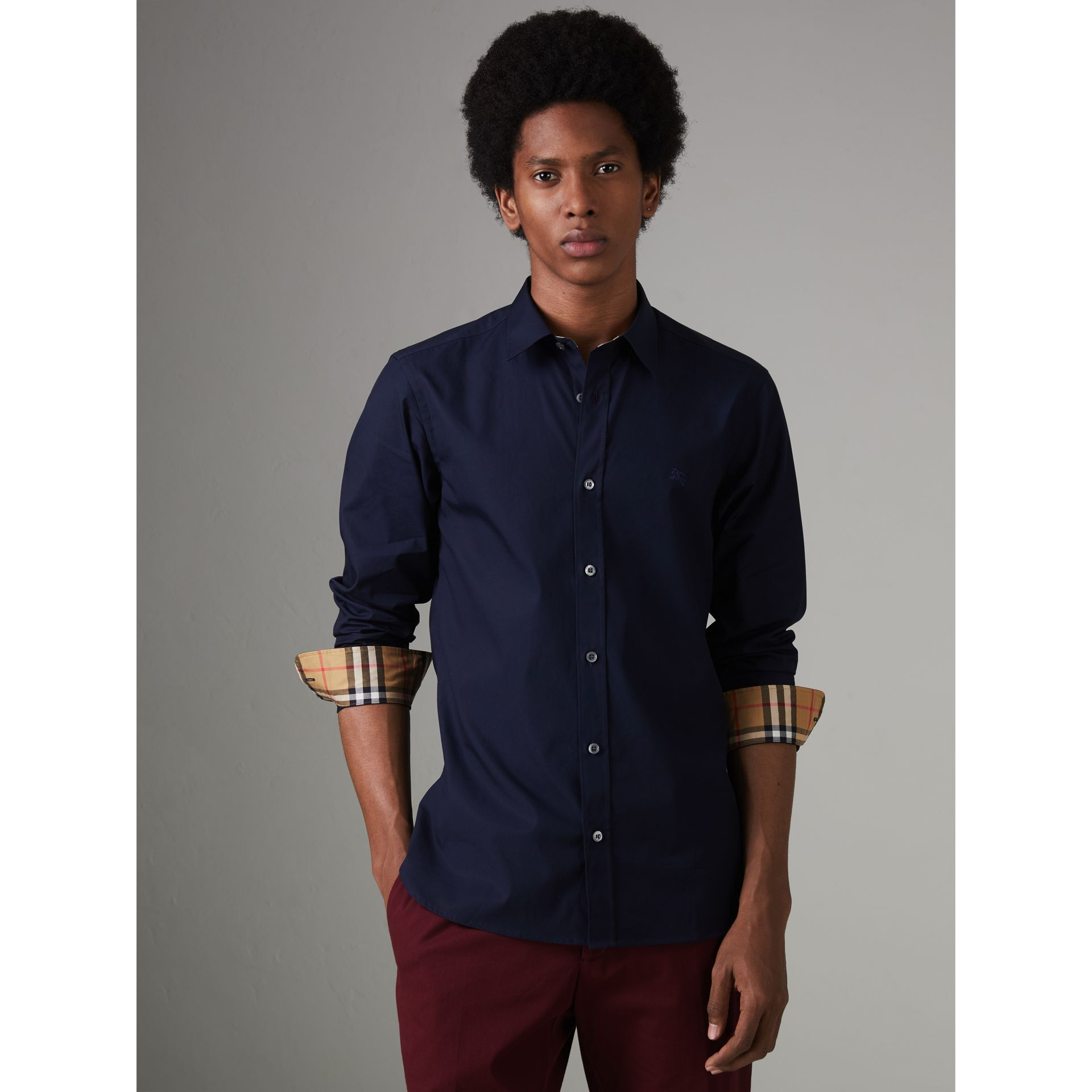 Check Cuff Stretch Cotton Poplin Shirt in Navy - Men | Burberry - gallery image 5