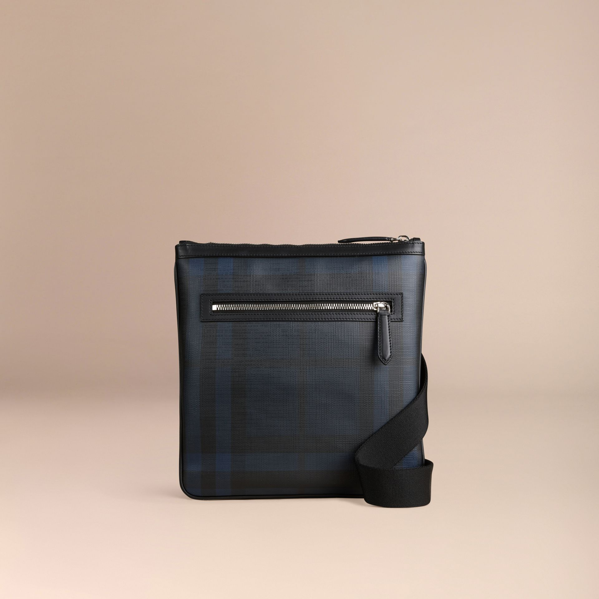 Leather Trim London Check Crossbody Bag in Navy/black - Men | Burberry - gallery image 6