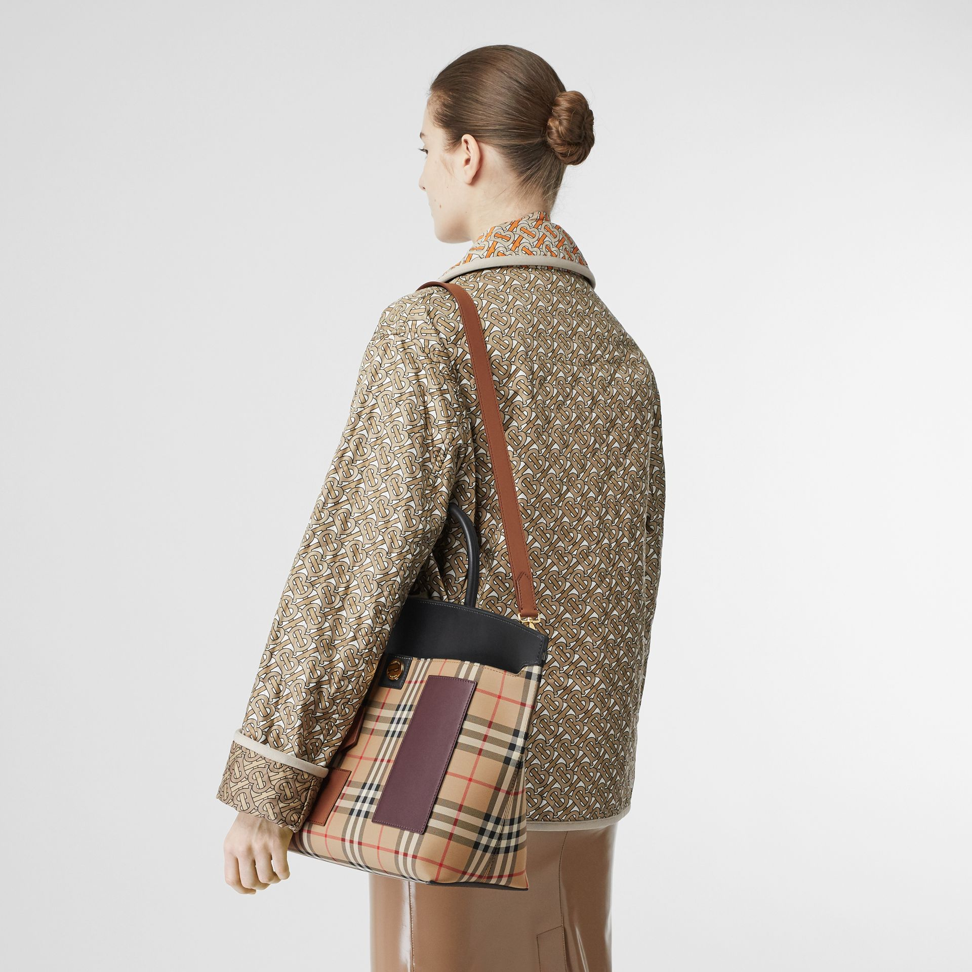 Vintage Check and Leather Society Top Handle Bag in Archive Beige - Women | Burberry - gallery image 2