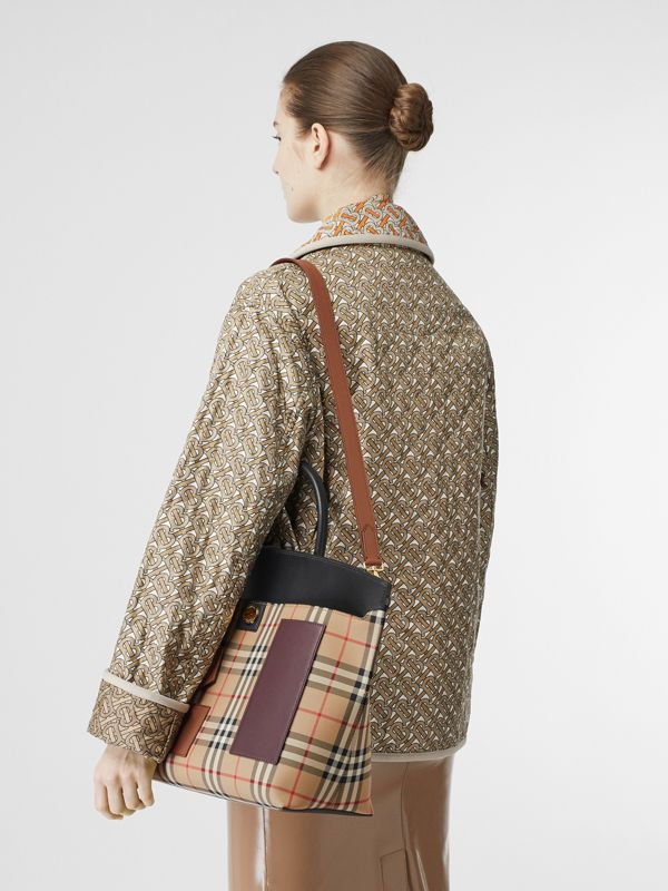 Vintage Check and Leather Society Top Handle Bag in Archive Beige - Women | Burberry United States - cell image 2