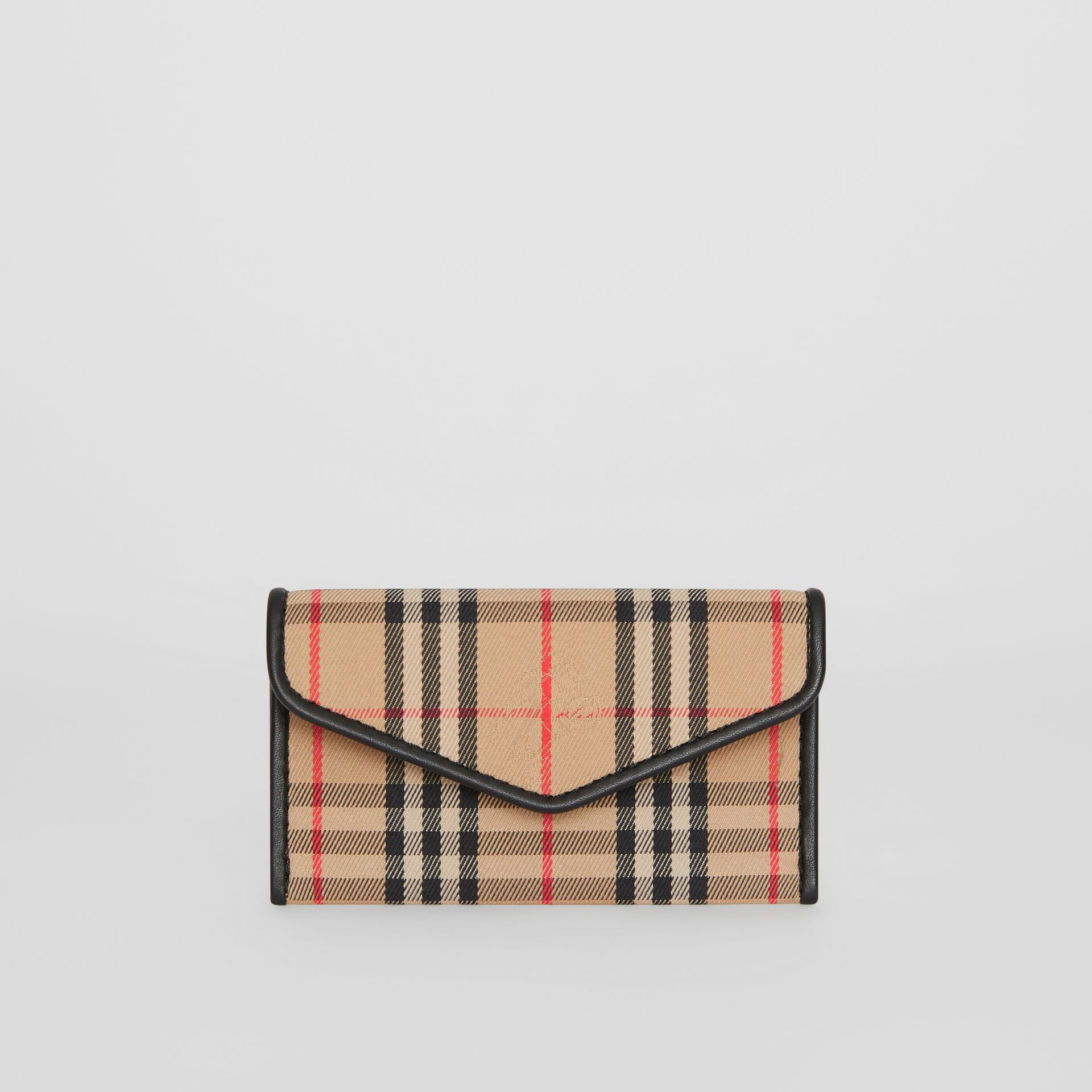1983 Check and Leather Envelope Card Case in Black - Women | Burberry - gallery image 0