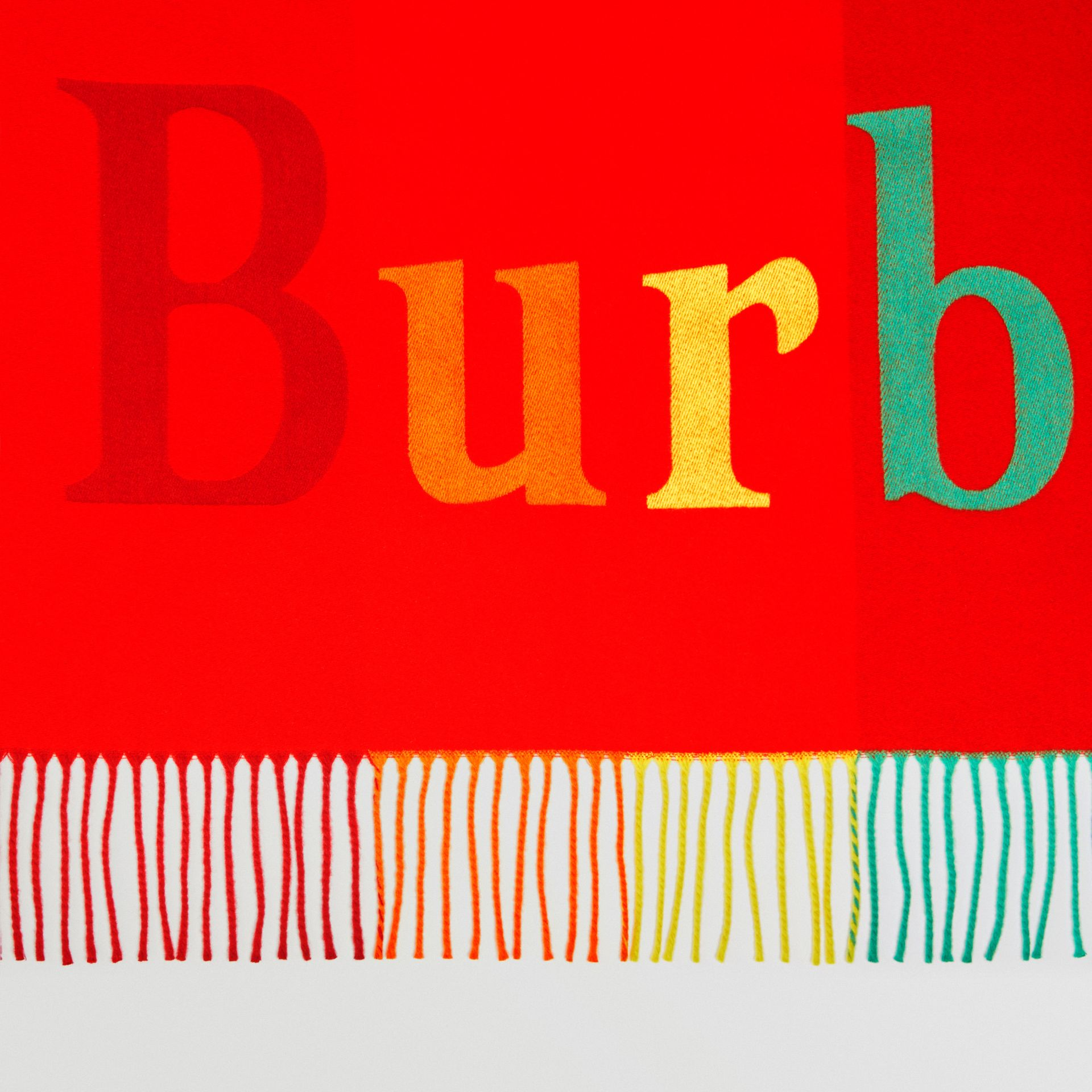 The Burberry Bandana in Logo Detail Wool Cashmere in Bright Red | Burberry United Kingdom - gallery image 1