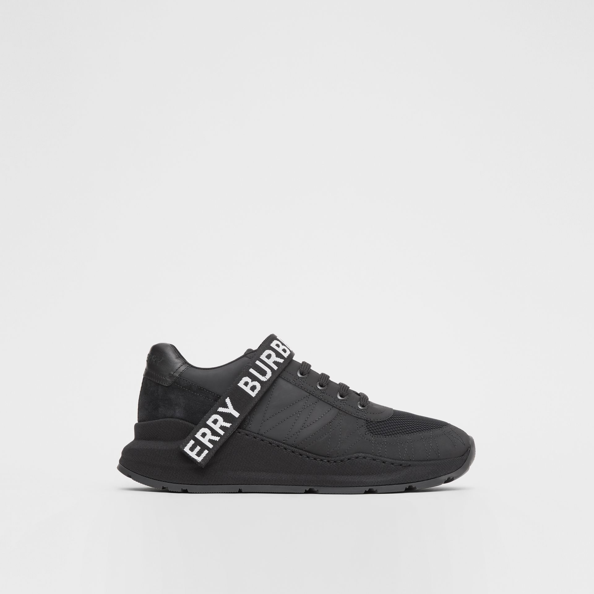 Logo Detail Leather, Nubuck and Mesh Sneakers in Black - Men | Burberry Singapore - gallery image 5