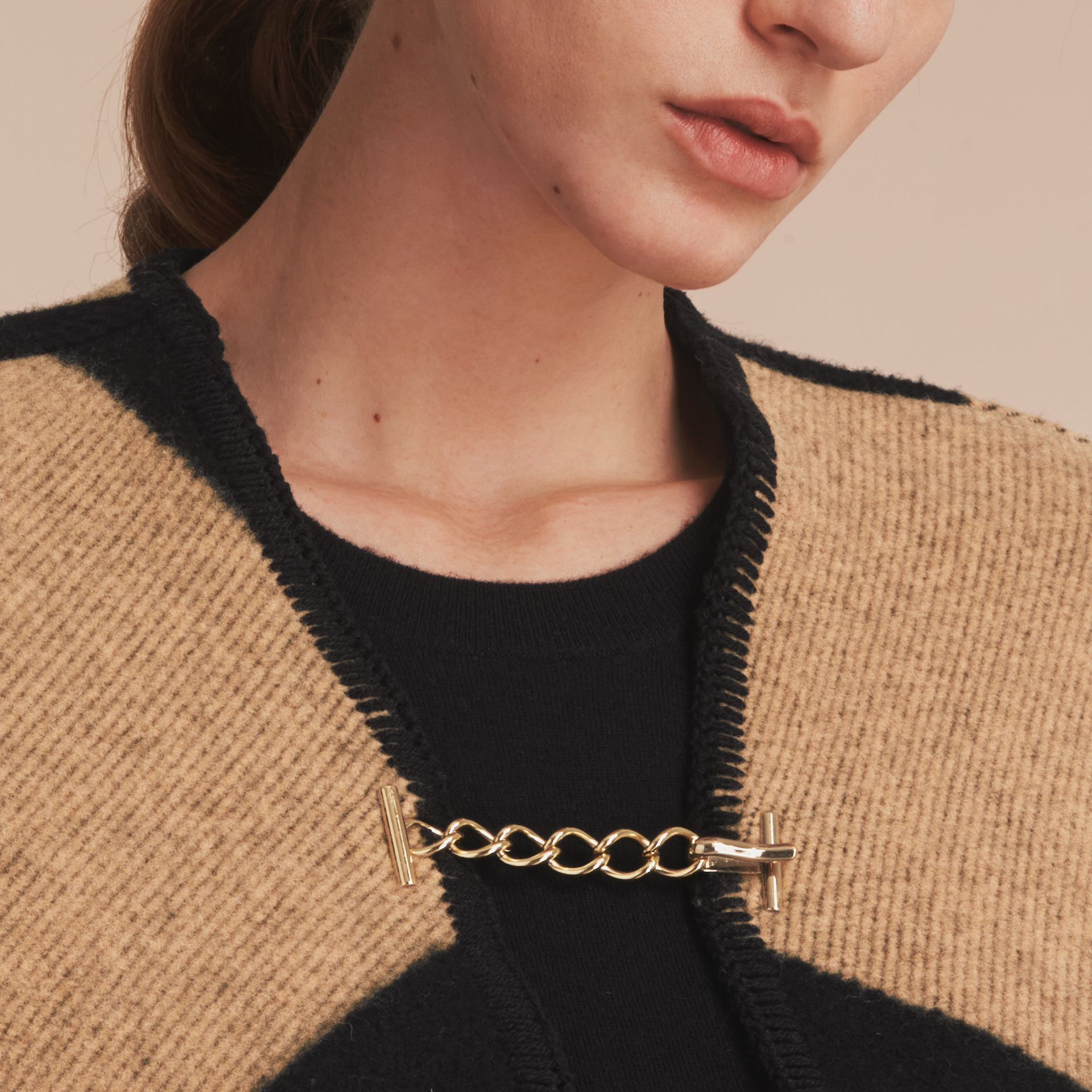 Check Wool Cashmere Blanket Cape in Camel/black - Women | Burberry Canada - gallery image 5