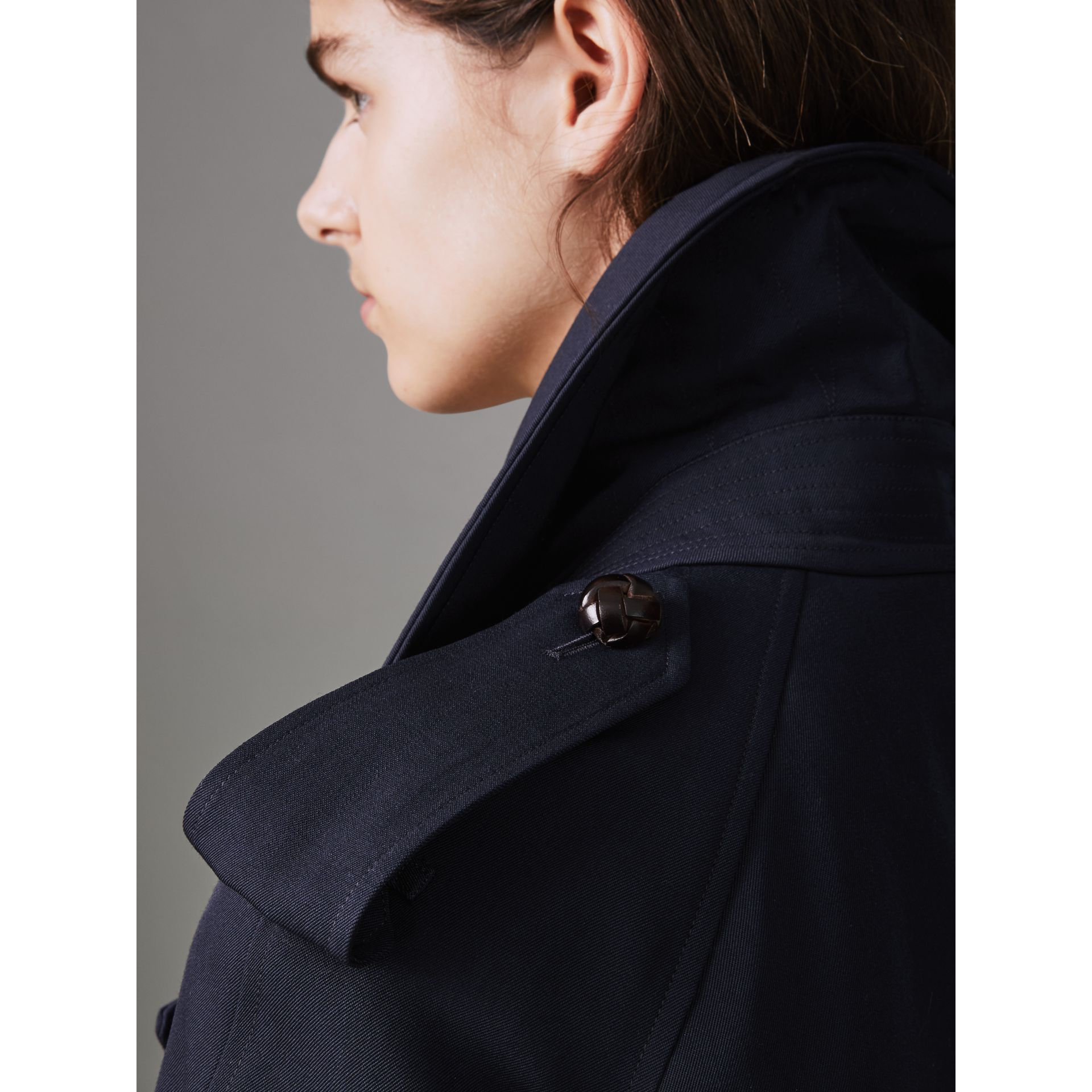 Oversized Lapel Wool Gabardine Trench Coat in Navy - Women | Burberry - gallery image 4