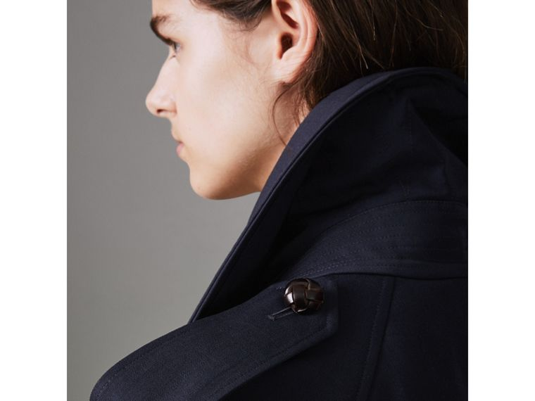 Oversized Lapel Wool Gabardine Trench Coat in Navy - Women | Burberry - cell image 4