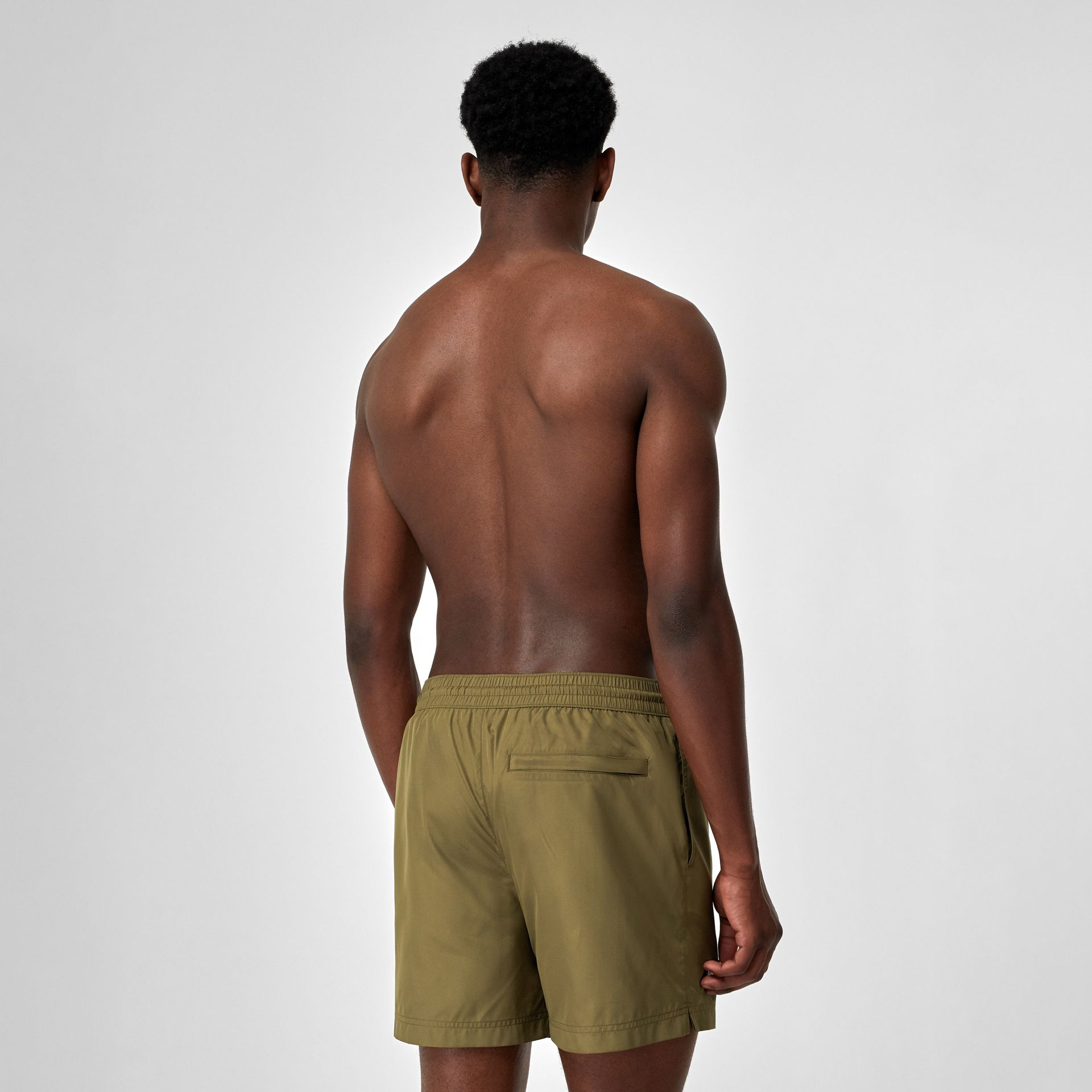 Logo Detail Drawcord Swim Shorts in Utility Green - Men | Burberry Canada - gallery image 1