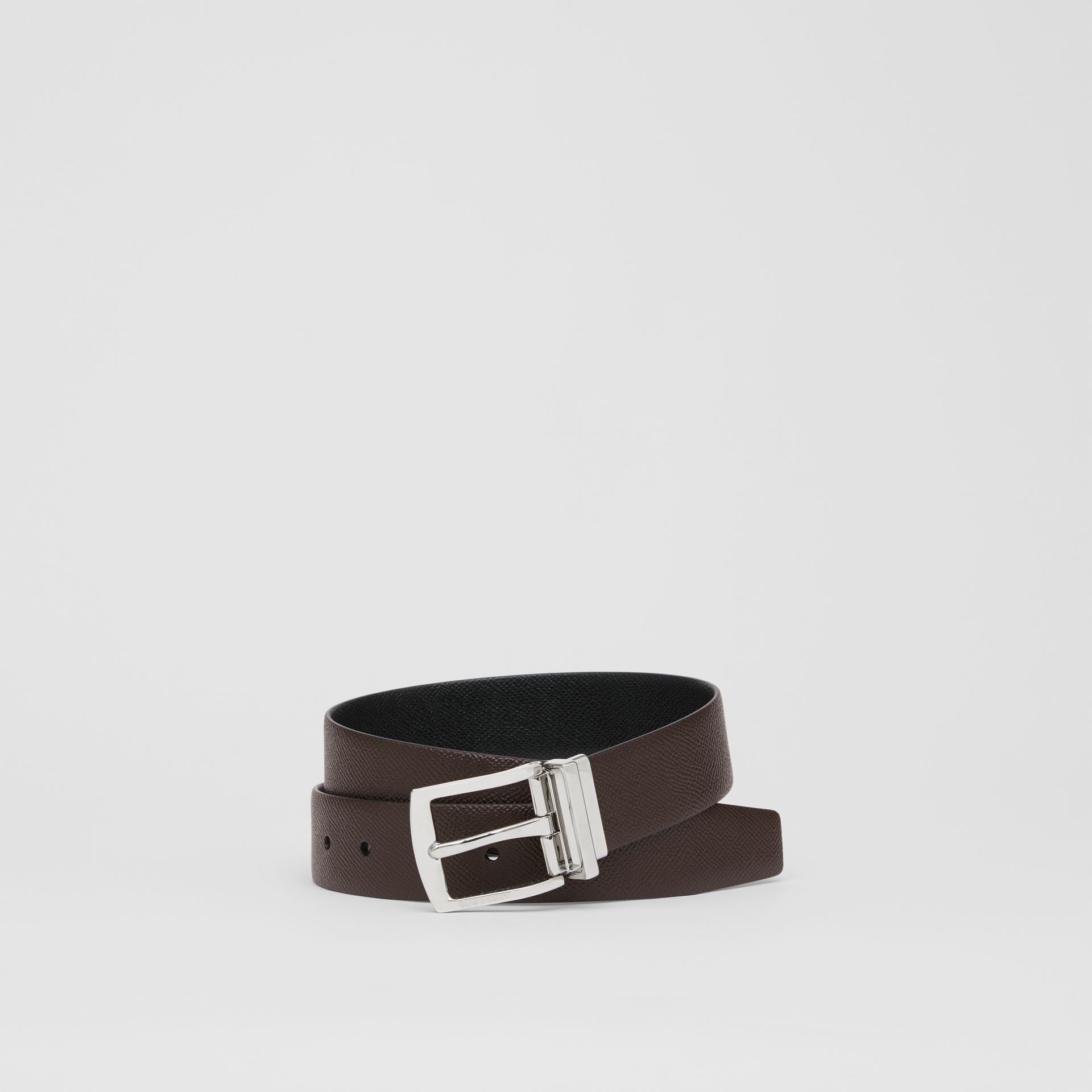 Reversible Grainy Leather Belt in Chocolate/black - Men | Burberry United Kingdom - gallery image 0