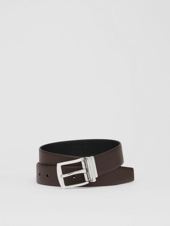 Reversible Grainy Leather Belt in Chocolate/black