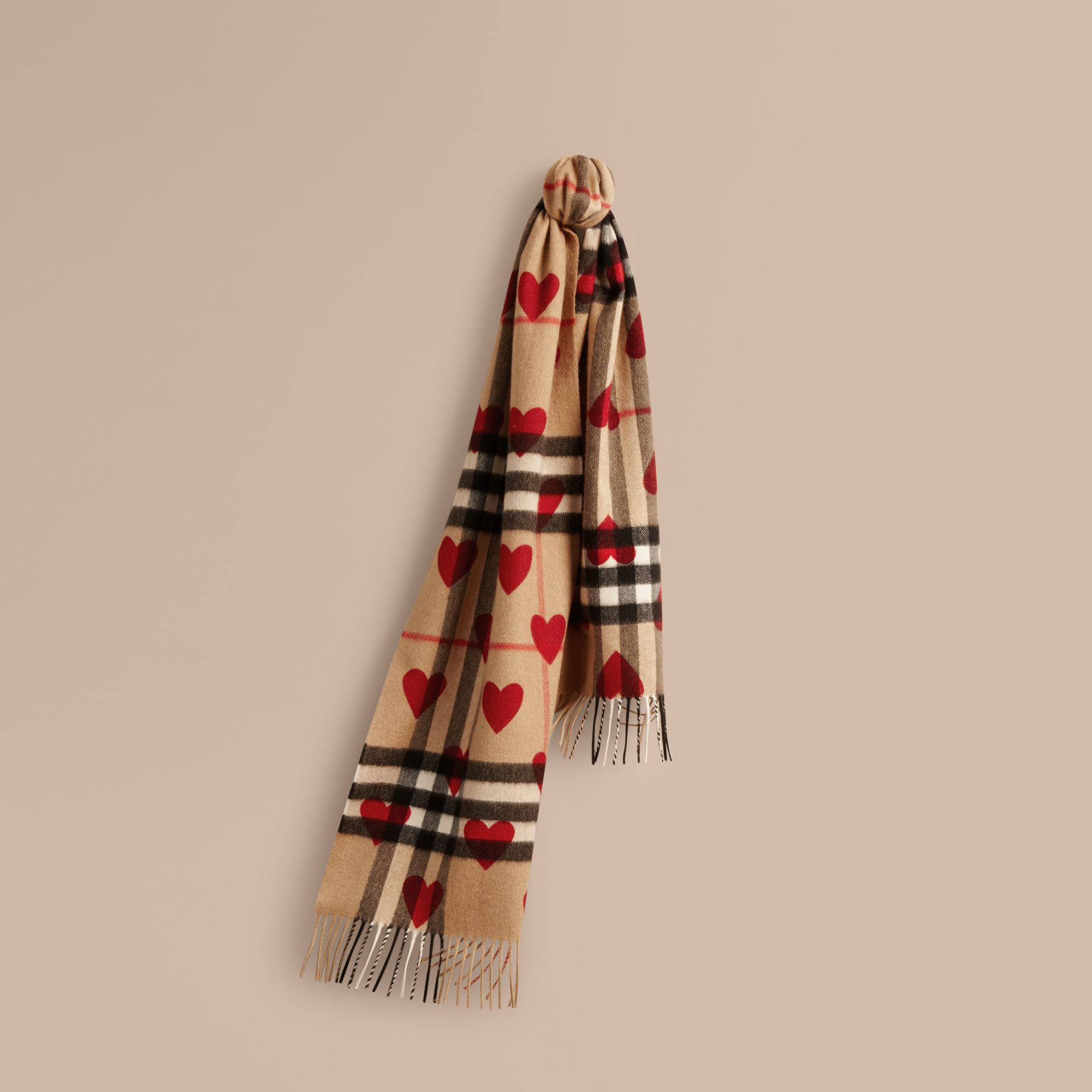 The Classic Cashmere Scarf in Check and Hearts in Parade Red | Burberry - gallery image 6