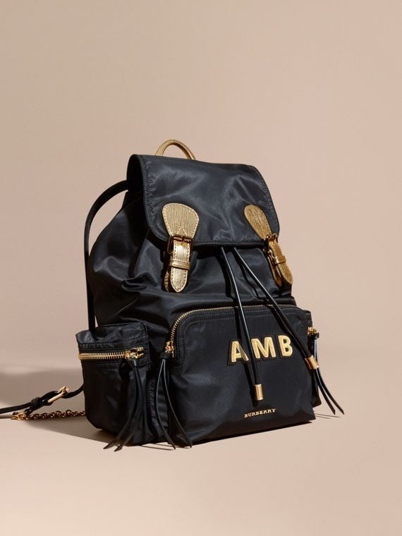 The Large Rucksack in Two-tone Nylon and Leather
