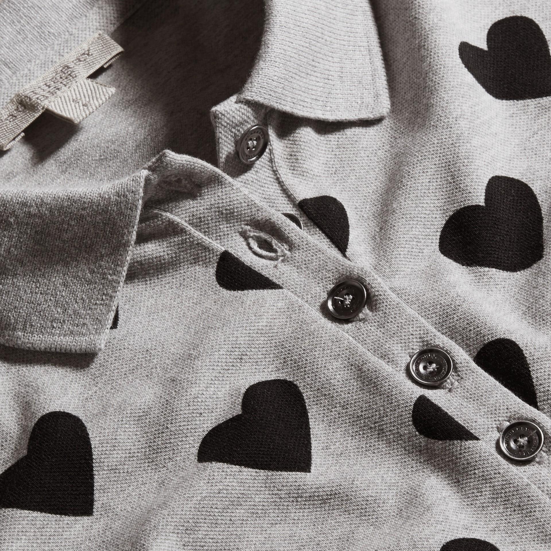 Grigio Polo in cotone piqué stretch con stampa a cuori Grigio - immagine della galleria 2