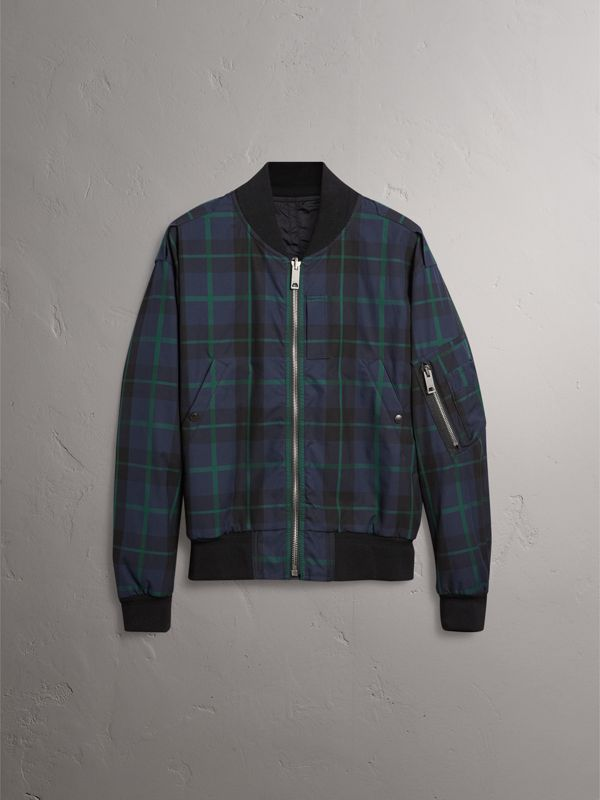 Reversible Check Cotton and Nylon Bomber Jacket in Navy - Men | Burberry - cell image 3