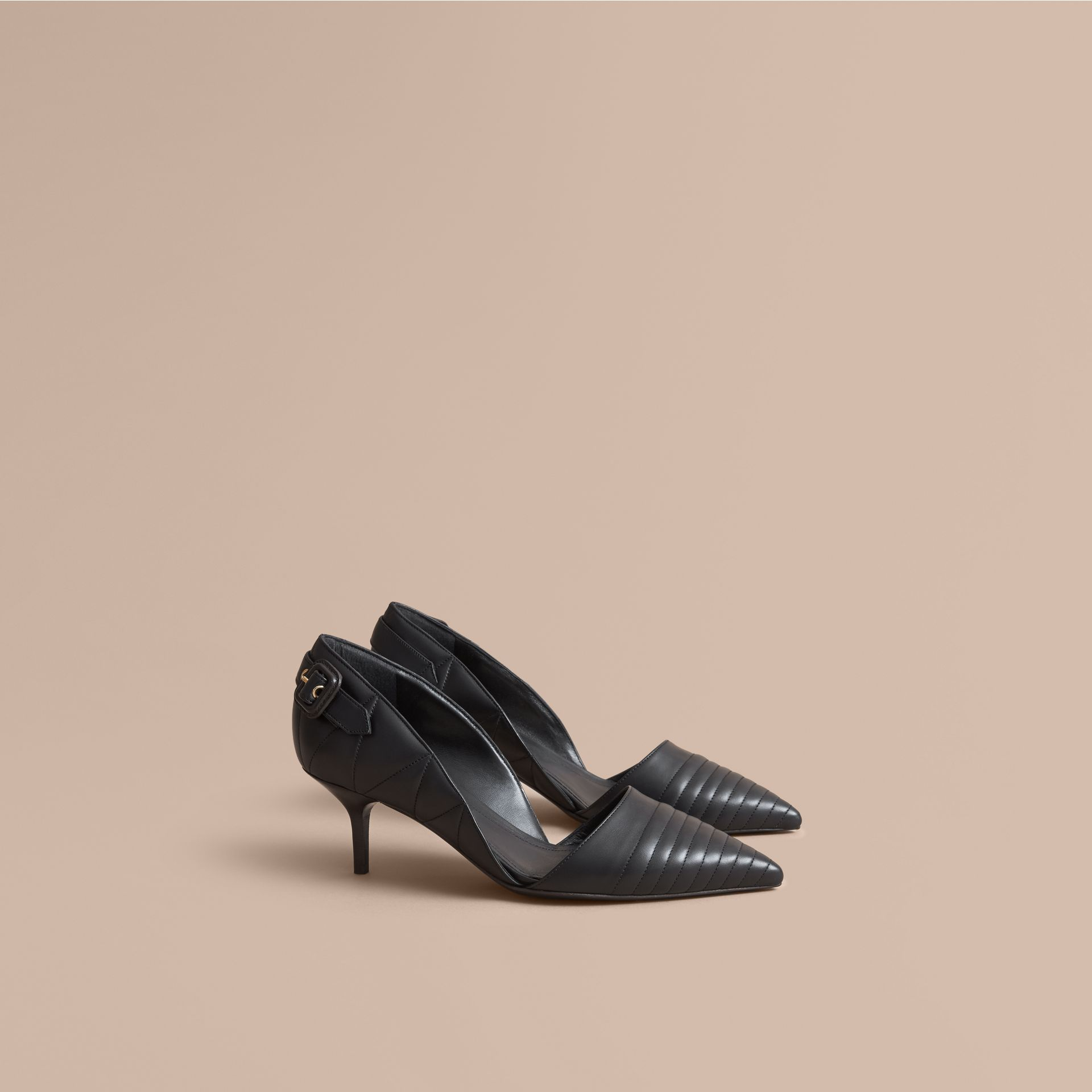 Quilted Leather D'Orsay Pumps in Black - gallery image 1