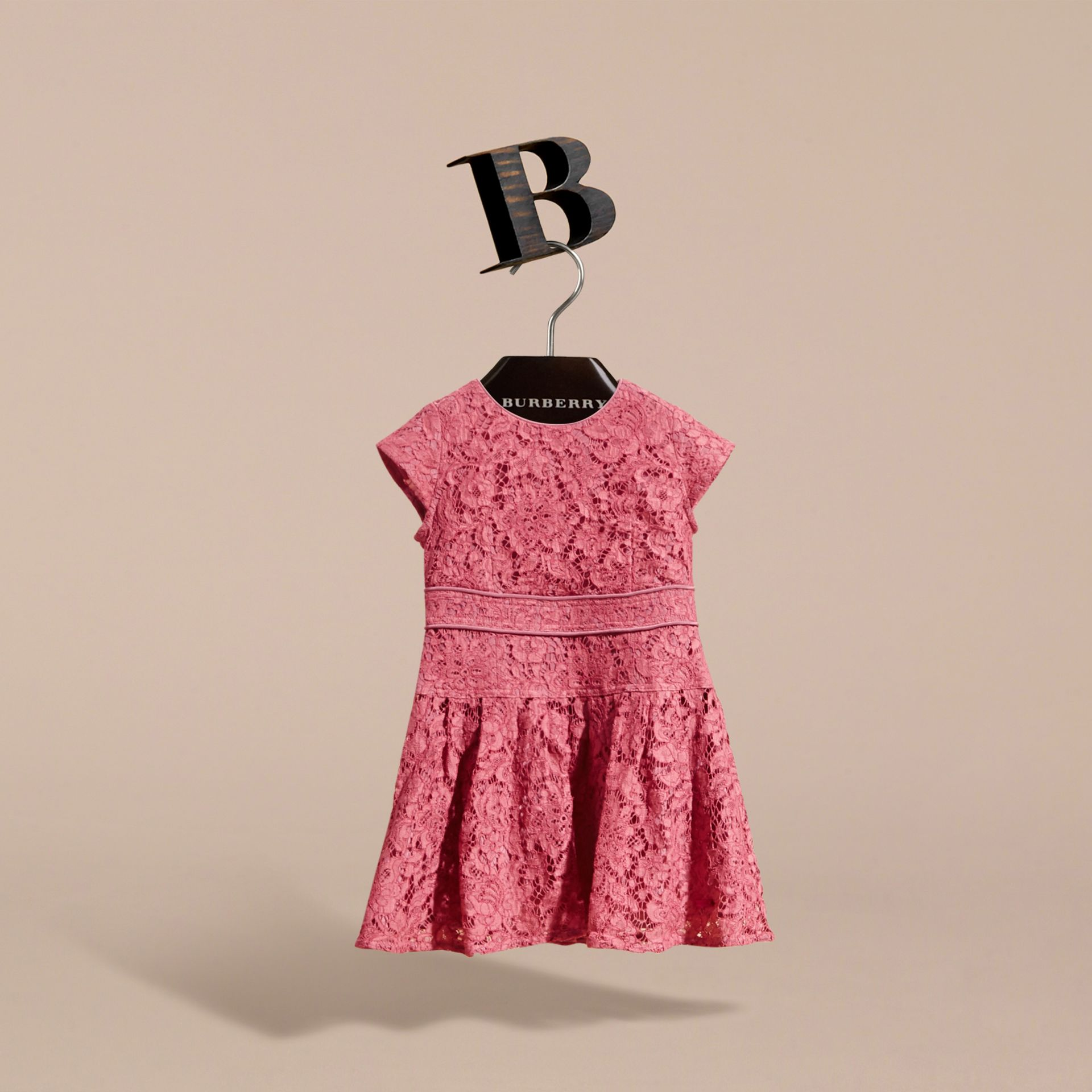 Cap Sleeve Macramé Lace Dress in Pink Azalea | Burberry - gallery image 2