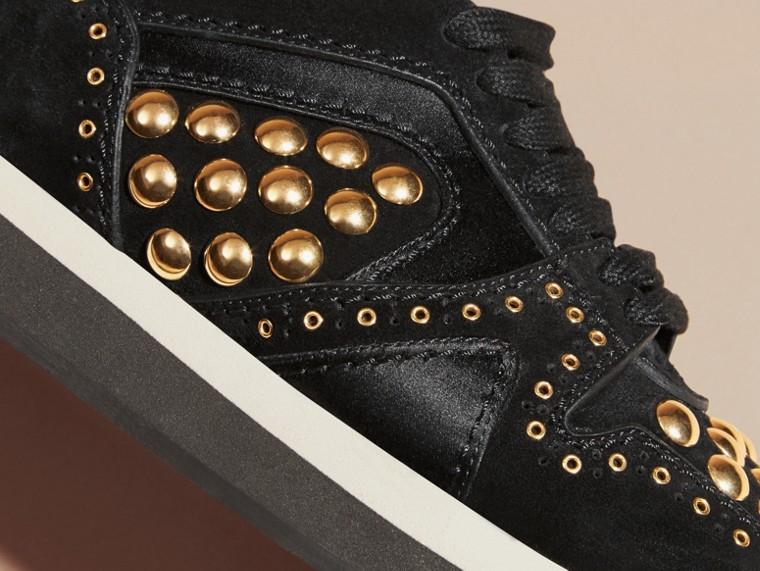 Noir Field Sneakers en cuir velours clouté Noir - cell image 1