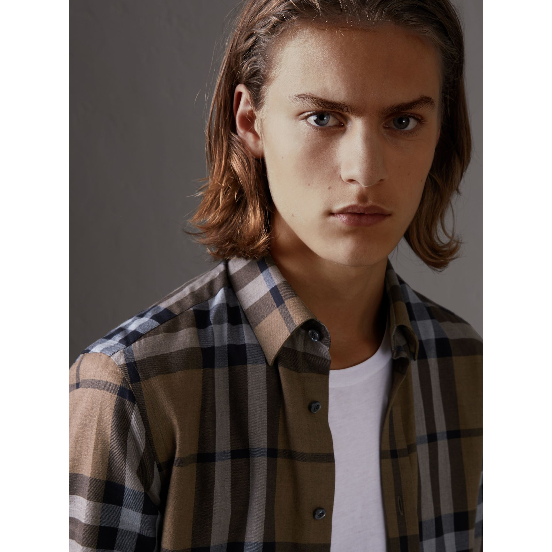 Check Cotton Cashmere Flannel Shirt in Walnut - Men | Burberry Singapore - gallery image 1