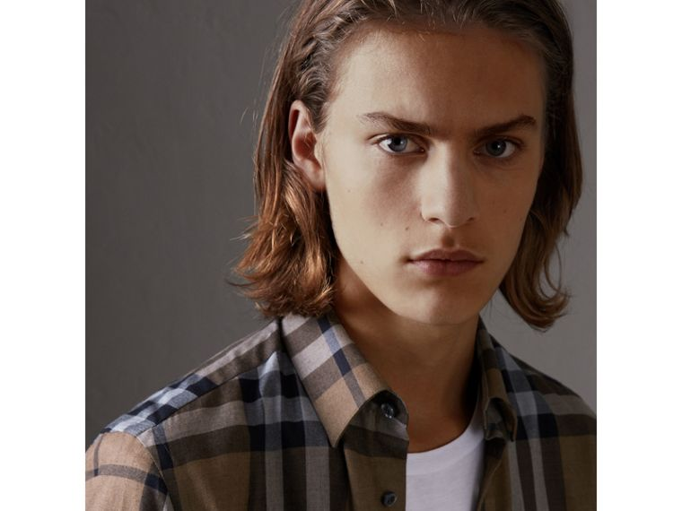 Check Cotton Cashmere Flannel Shirt in Walnut - Men | Burberry Singapore - cell image 1