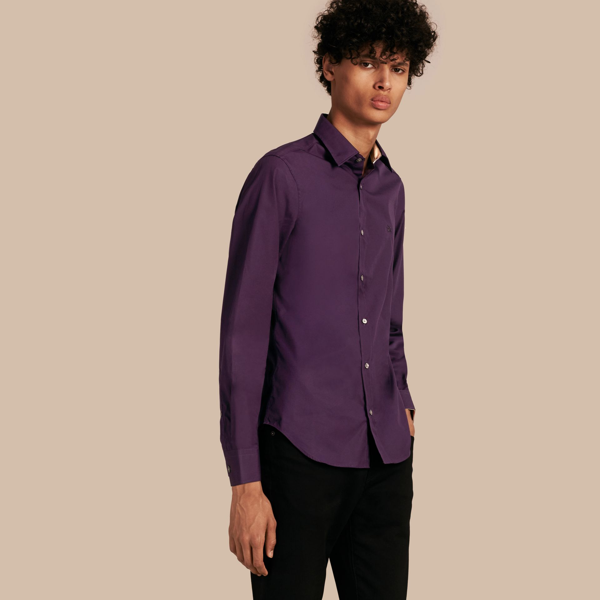 Check Detail Stretch Cotton Poplin Shirt in Dark Purple - gallery image 1