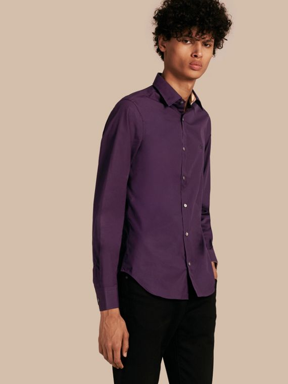 Check Detail Stretch Cotton Poplin Shirt in Dark Purple - Men | Burberry