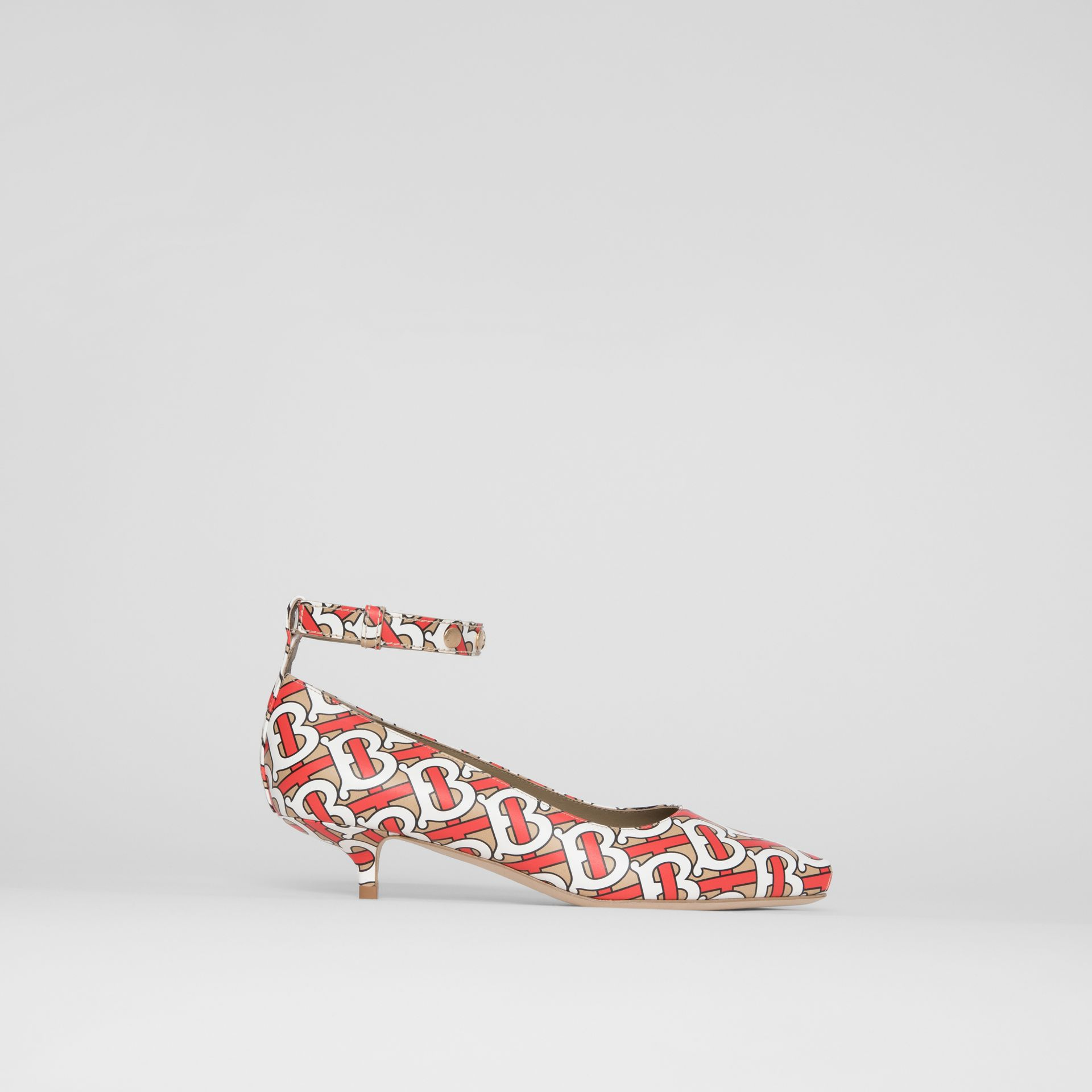 Monogram Print Leather Peep-toe Kitten-heel Pumps in Tawny - Women | Burberry - gallery image 5
