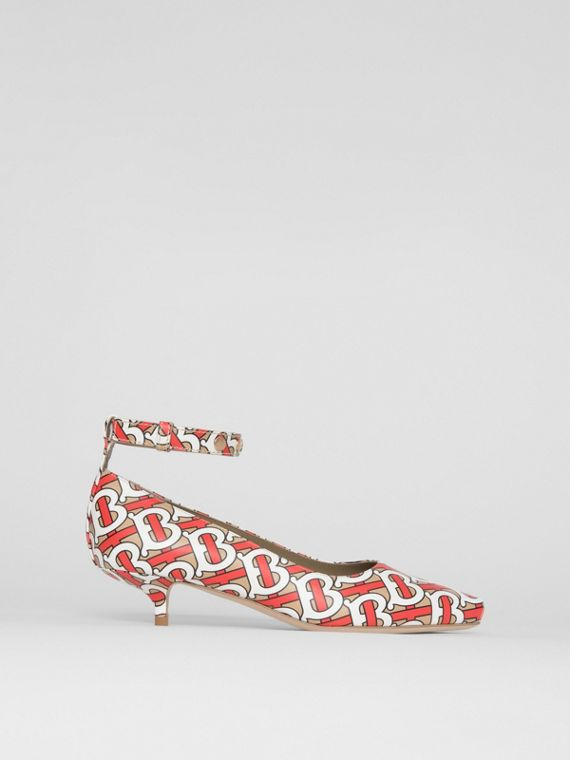 Monogram Print Leather Peep-toe Kitten-heel Pumps in Tawny