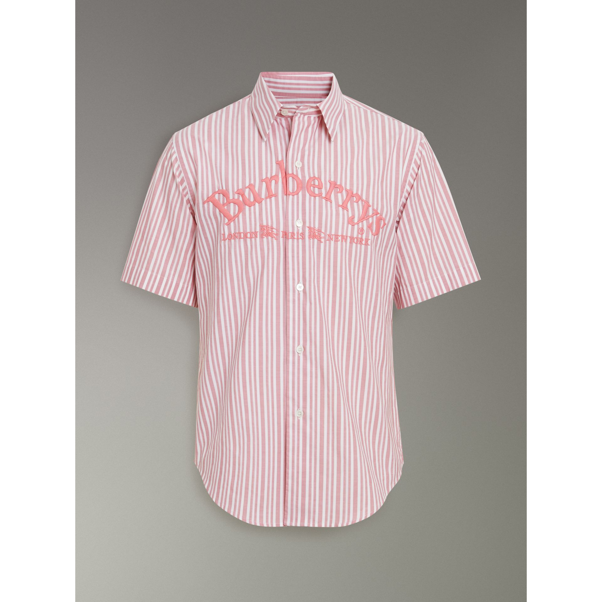 Embroidered Archive Logo Striped Short-sleeve Shirt in Light Pink - Men | Burberry Australia - gallery image 3