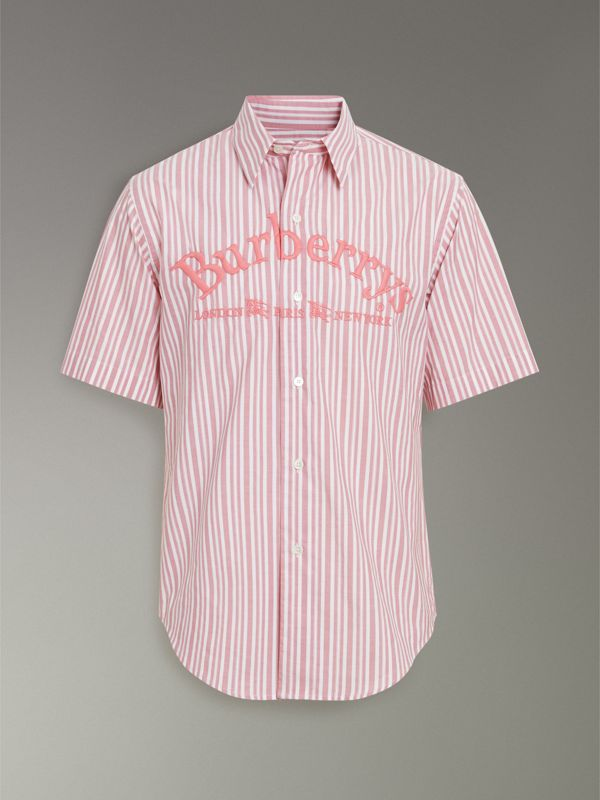 Embroidered Archive Logo Striped Short-sleeve Shirt in Light Pink - Men | Burberry - cell image 3