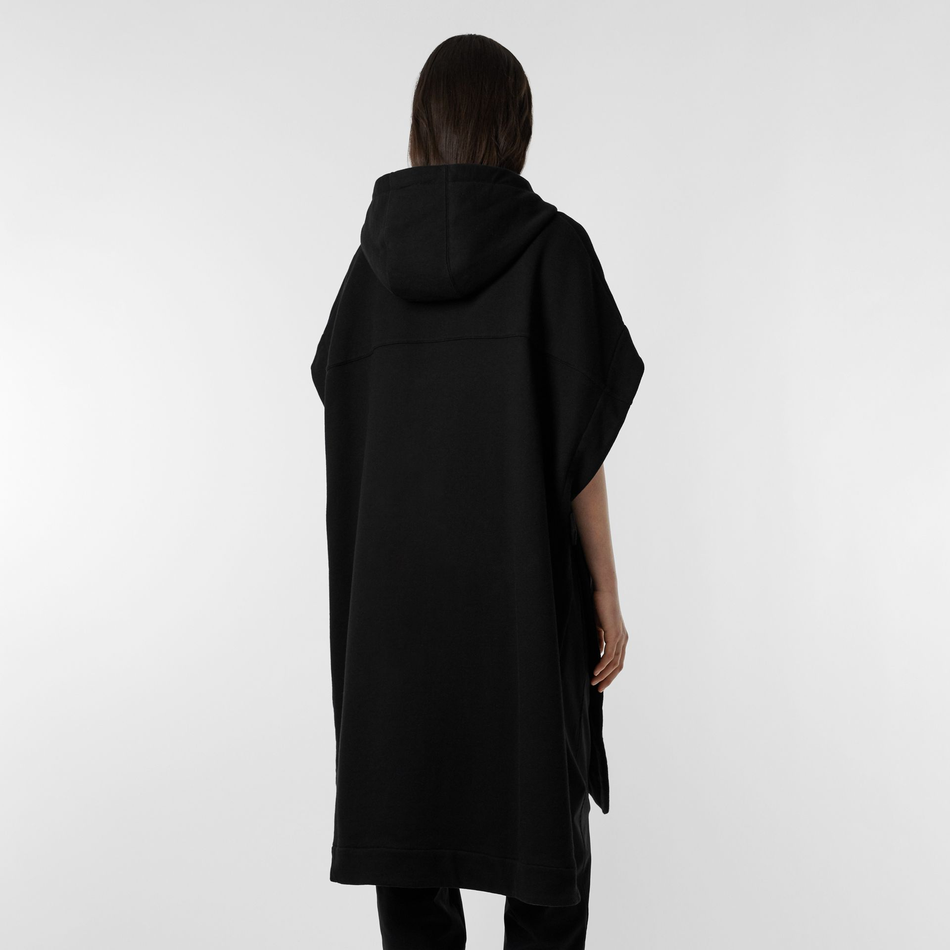 Monogram Motif Cotton Oversized Hooded Poncho in Black | Burberry United States - gallery image 10