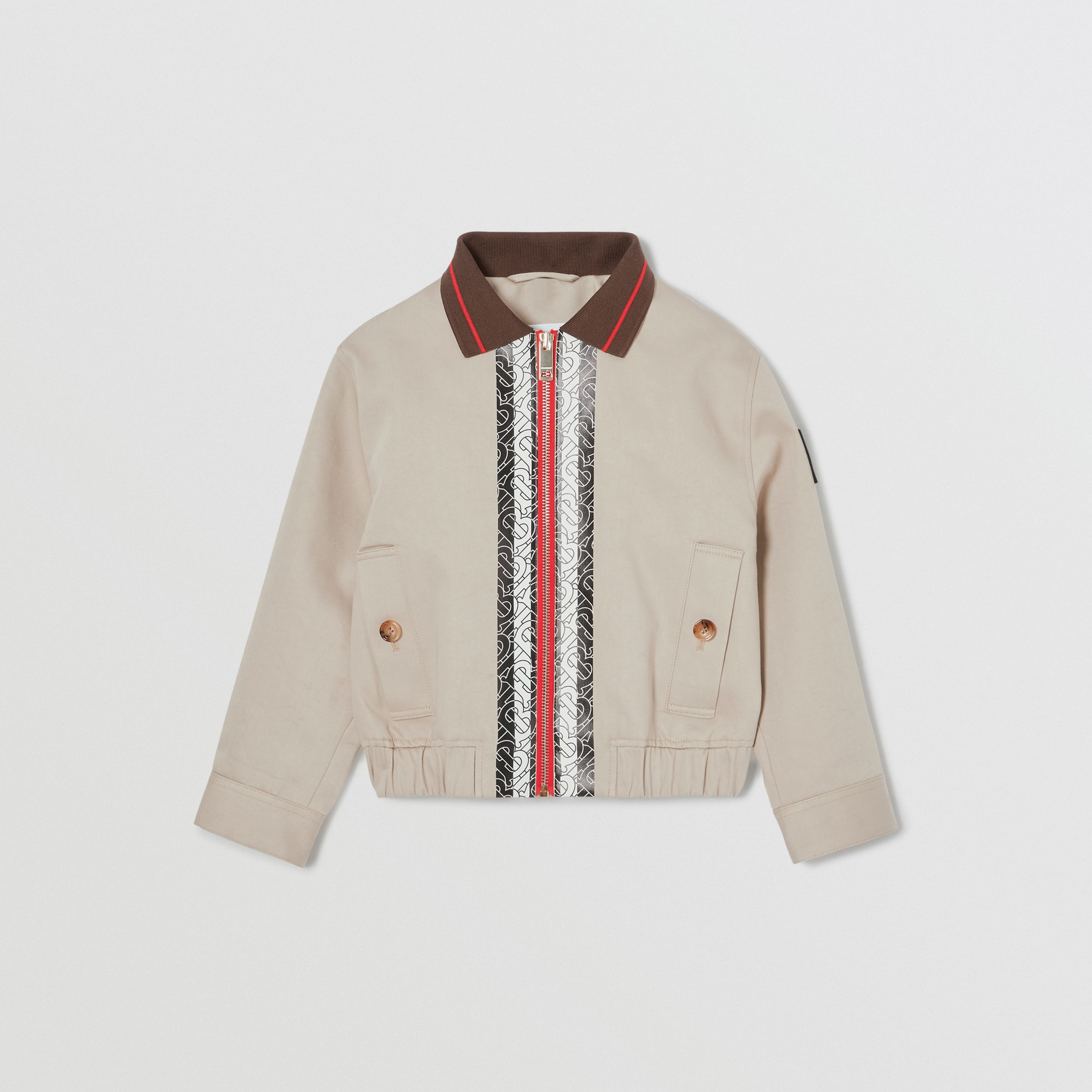 Monogram Stripe Print Cotton Harrington Jacket in Stone | Burberry - 1