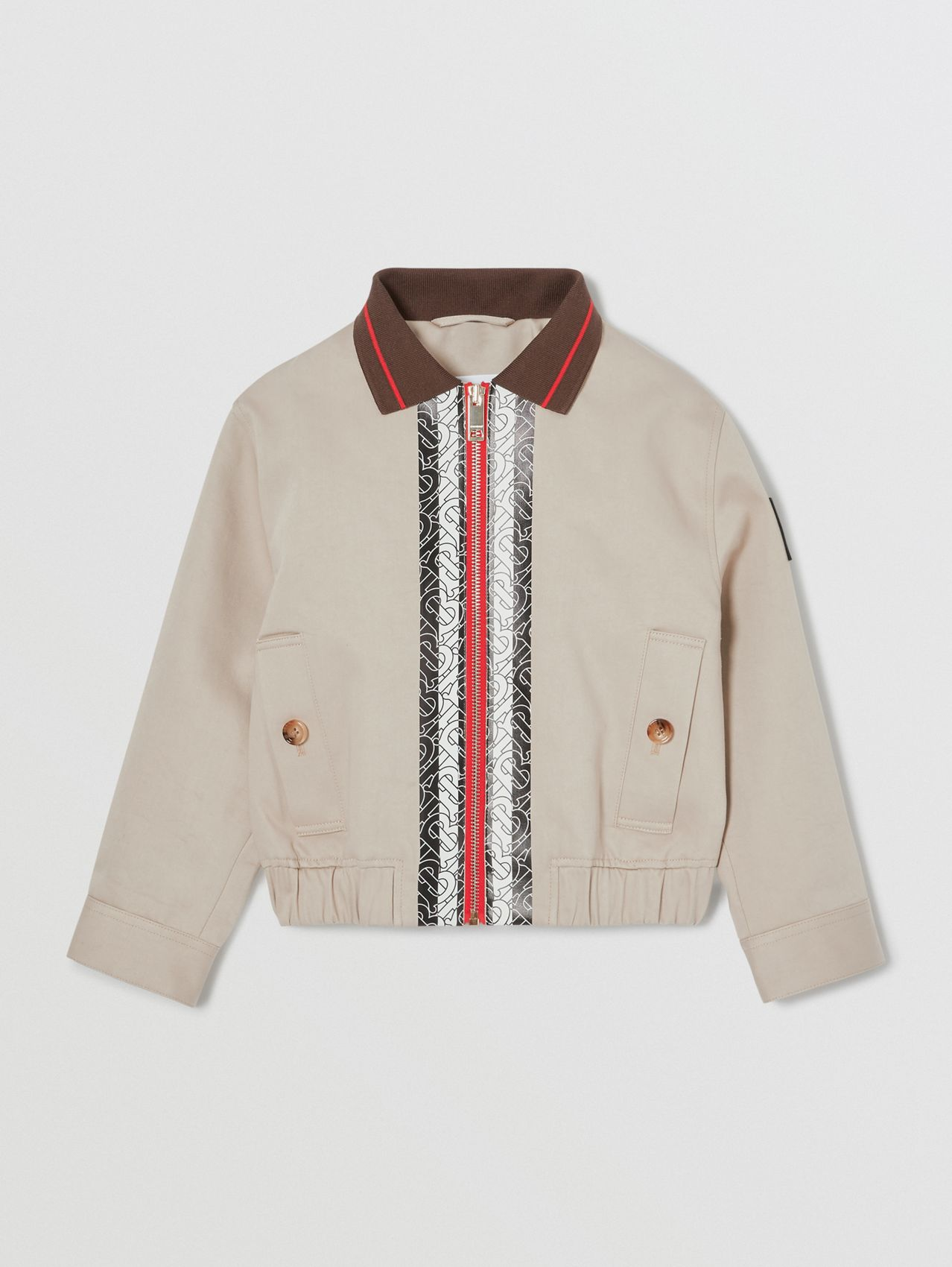 Monogram Stripe Print Cotton Harrington Jacket in Stone