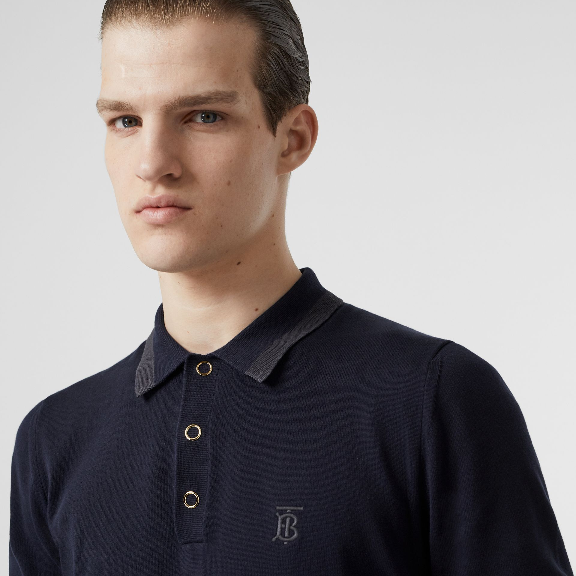 Monogram Motif Cotton Polo Shirt in Navy - Men | Burberry - gallery image 1