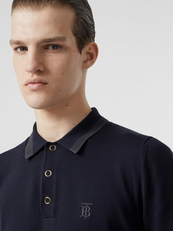 Monogram Motif Cotton Polo Shirt in Navy - Men | Burberry - cell image 1