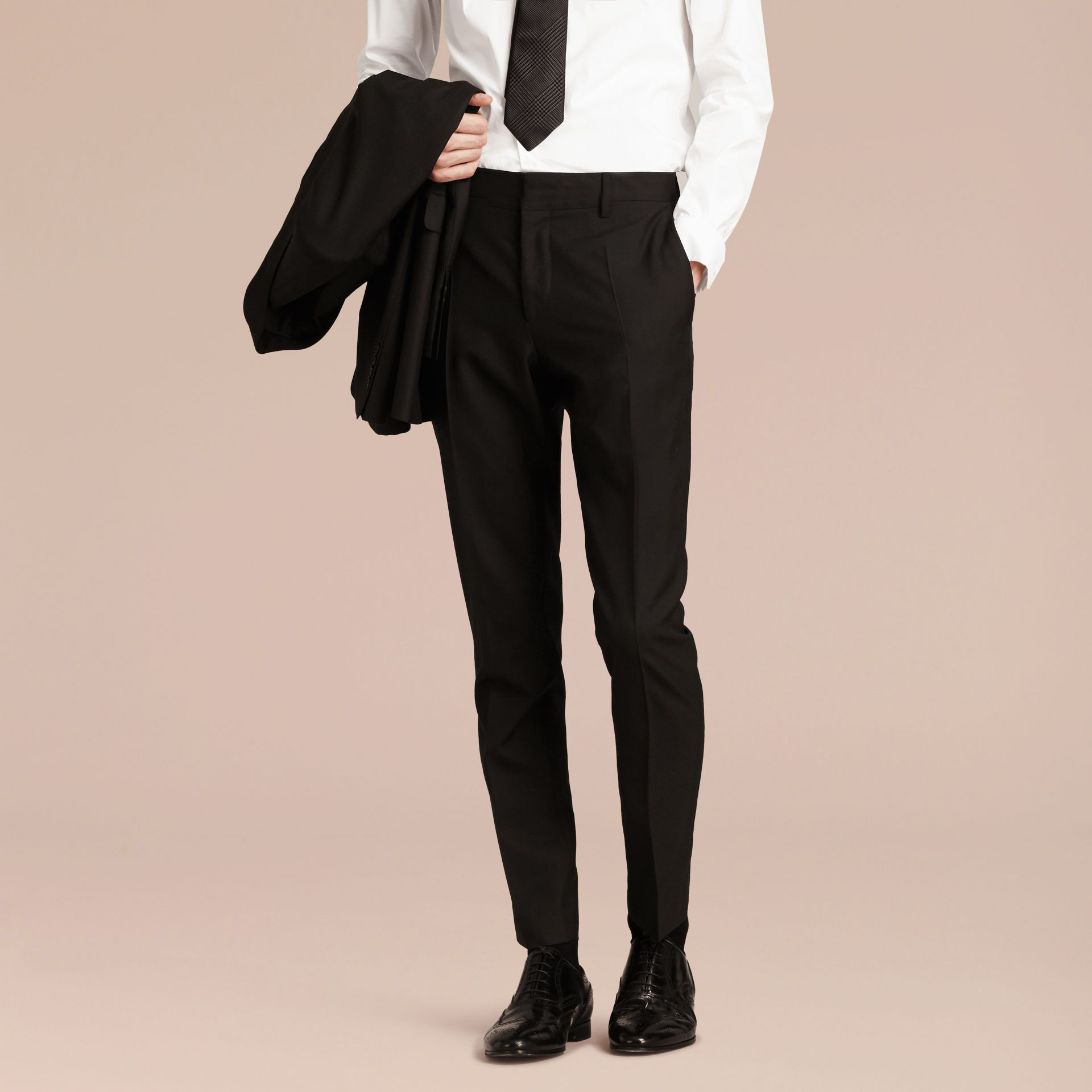 Modern Fit Wool Part-canvas Suit in Black - Men | Burberry - gallery image 9