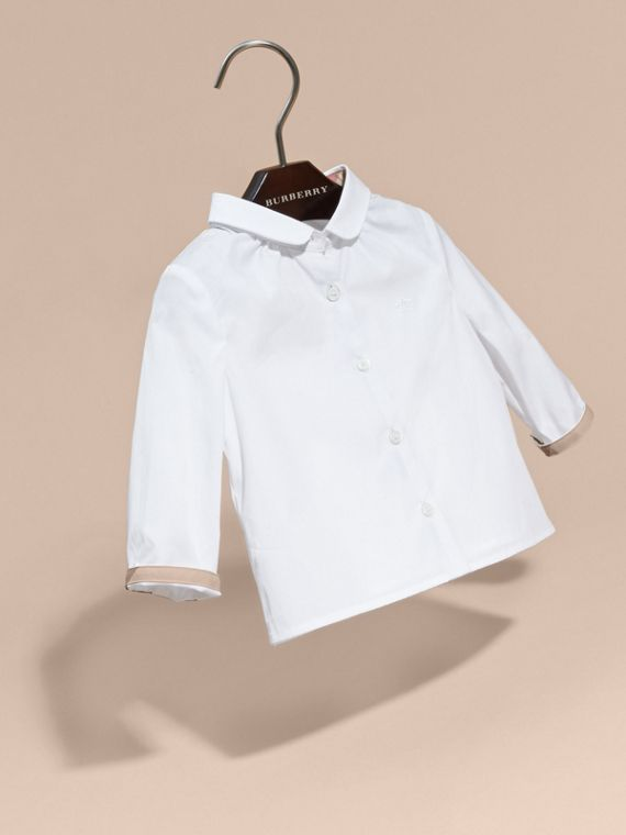 White Peter Pan Collar Cotton Shirt - cell image 2