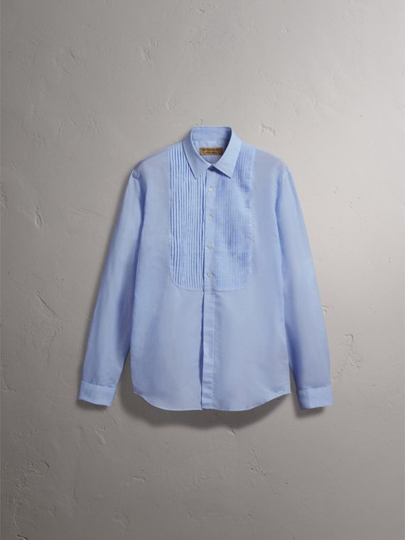 Modern Fit Linen Cotton Dress Shirt in Pale Blue - cell image 3