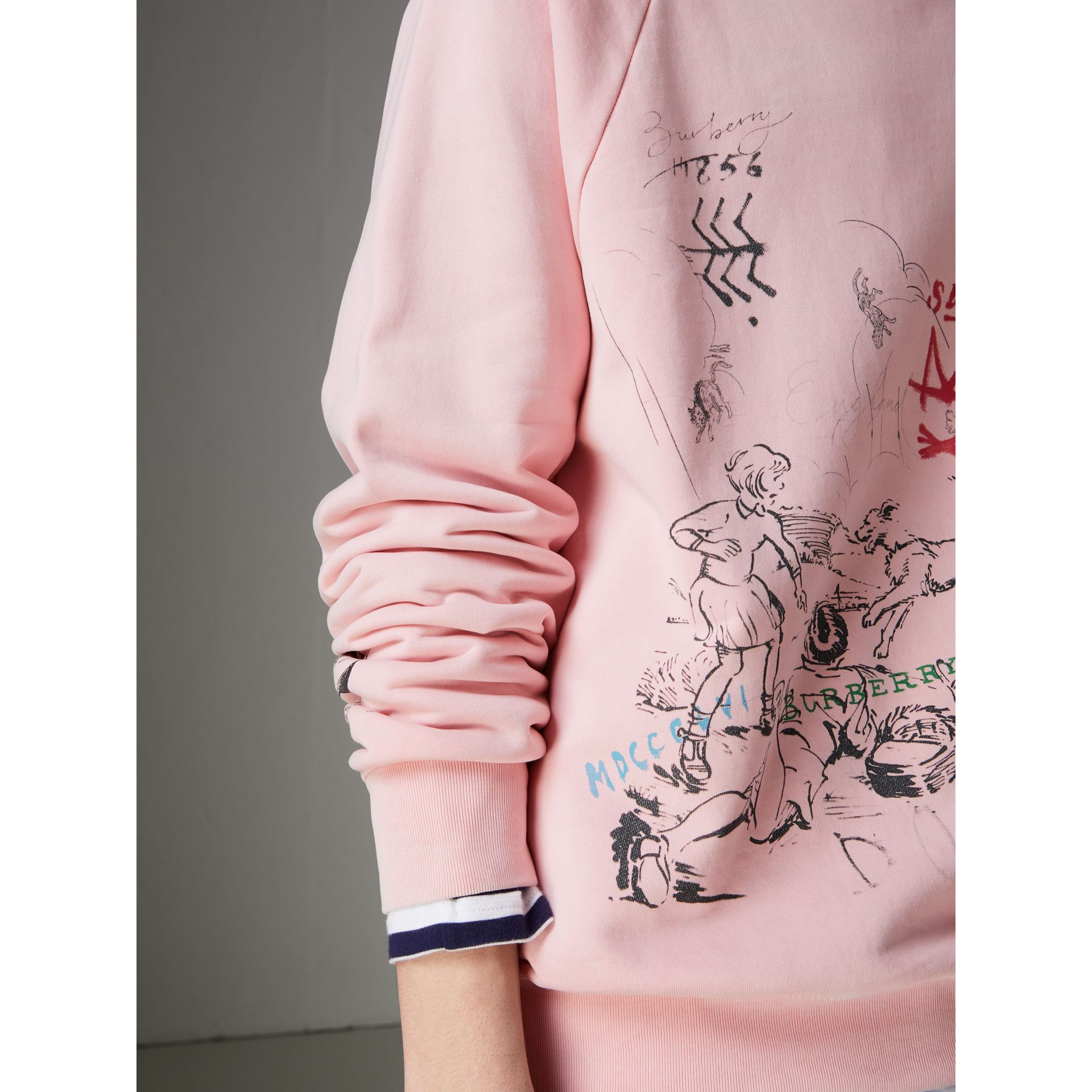 Adventure Print Cotton Sweatshirt in Light Pink - Men | Burberry - gallery image 1