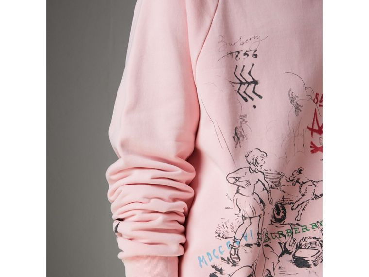 Adventure Print Cotton Sweatshirt in Light Pink - Men | Burberry - cell image 1
