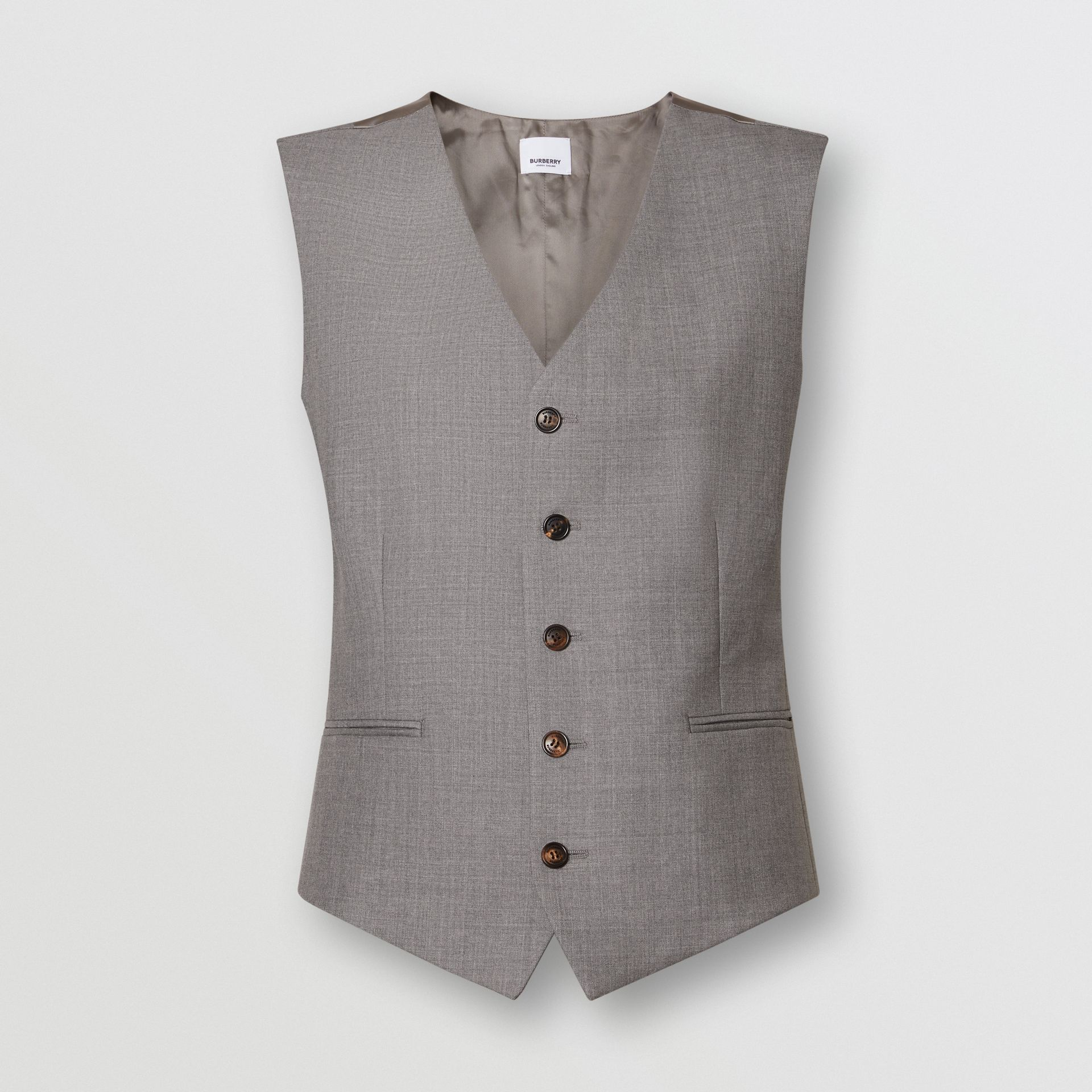 Satin Panel Wool Tailored Waistcoat in Flint - Women | Burberry - gallery image 3