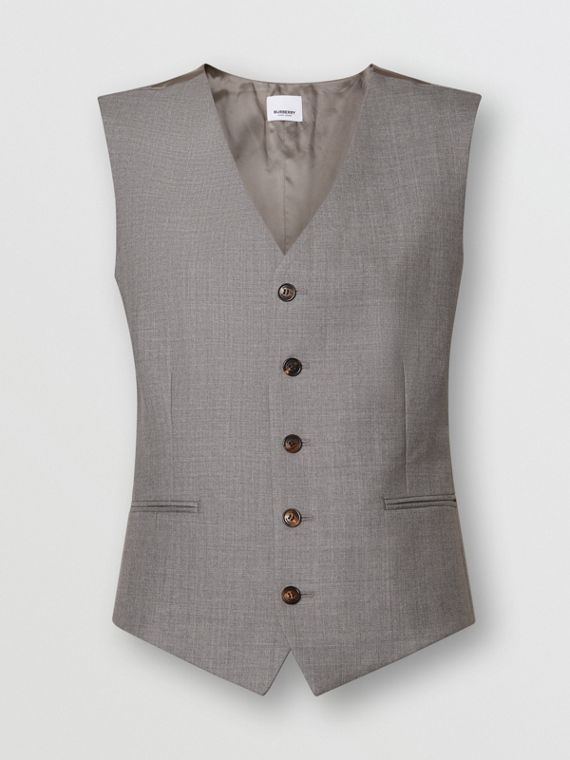 Satin Panel Wool Tailored Waistcoat in Flint